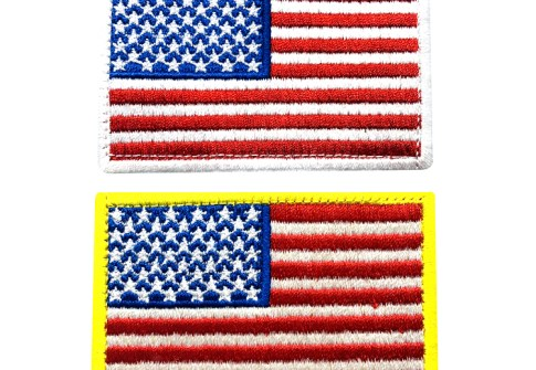 Private custom embroidered badge flag embroidery patch back with hook and loop