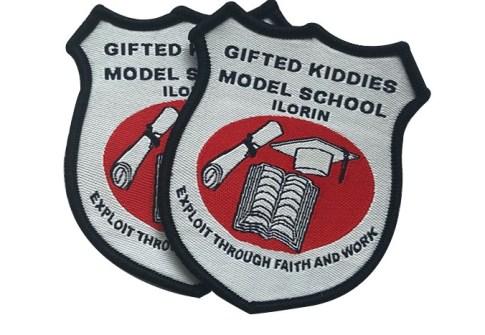 custom school uniform woven patch badge