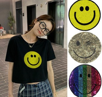Custom Sequin Patches Iron-on Plastic Sequined Patches Emoji Patches Stickers