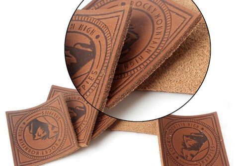 Brown Real Leather Patch For Snapback Cap Garments Leather Patch Custom Logo