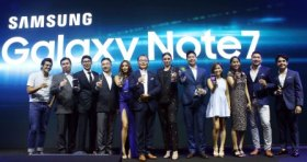 (L-R) Erwan Heussaff Galaxy Note7 ambassador_ Chad Sotelo, Head of Corporate Marketing, SEPCO_ Ivan Pua, Smartphone Category Head, SEPCO_ Minsu Chu, Business Director for IT and mobile, SEPCO...
