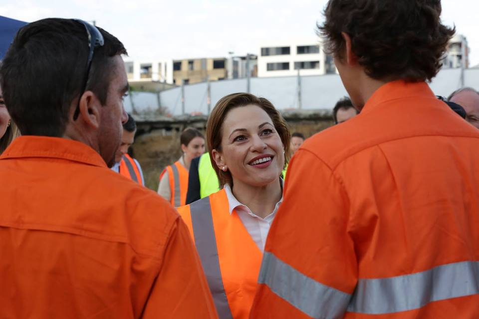 Queensland Deputy Premier Jackie Trad speaks with workers