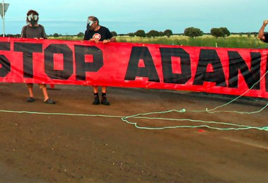 Frontline Action on Coal human barrier