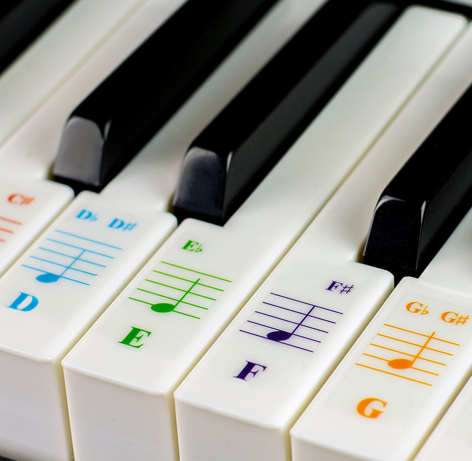 Color Piano Stickers For 49 61 76 88 Key Keyboards
