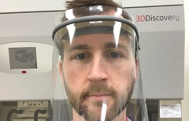 Dr John Connelly wearing the new 3D-printed visor