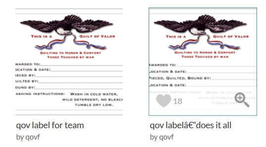Quilt Labels | Quilts of Valor Foundation
