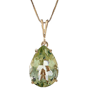 Pear Cut Green Amethyst Pendant Necklace 5.0ct in 9ct Gold