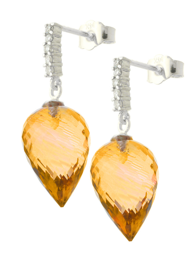 Citrine and Diamond Stud Earrings 19.0ctw in 9ct White Gold