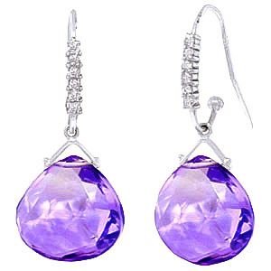 Amethyst and Diamond Stem Drop Earrings 17.0ctw in 9ct White Gold