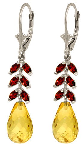 Citrine and Garnet Drop Earrings 11.2ctw in 9ct White Gold