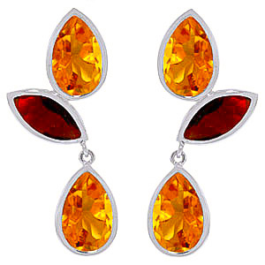 Citrine and Garnet Petal Drop Earrings 13.0ctw in 9ct White Gold