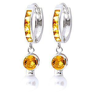 Citrine and Pearl Huggie Earrings 4.15ctw in 9ct White Gold
