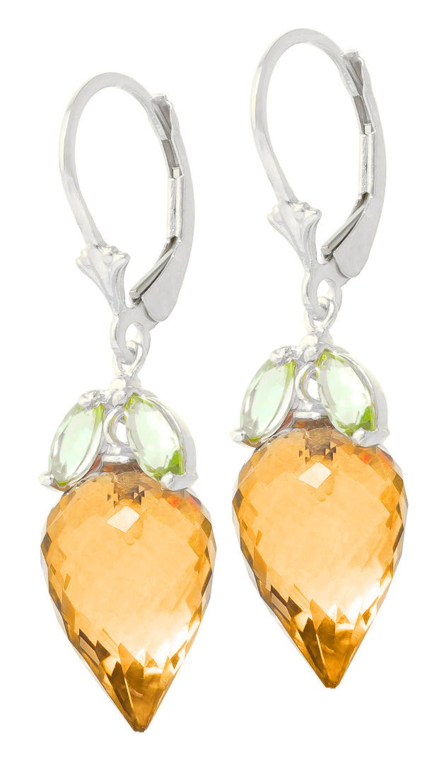 Citrine and Peridot Drop Earrings 20.0ctw in 9ct White Gold