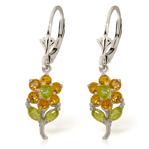 Citrine and Peridot Flower Petal Drop Earrings 2.12ctw in 9ct White Gold