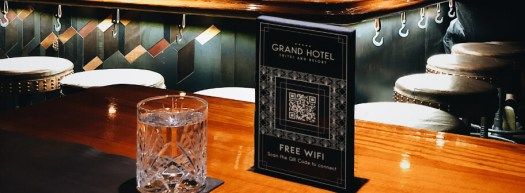 Scan to join a WiFi network QR Code at a hotel