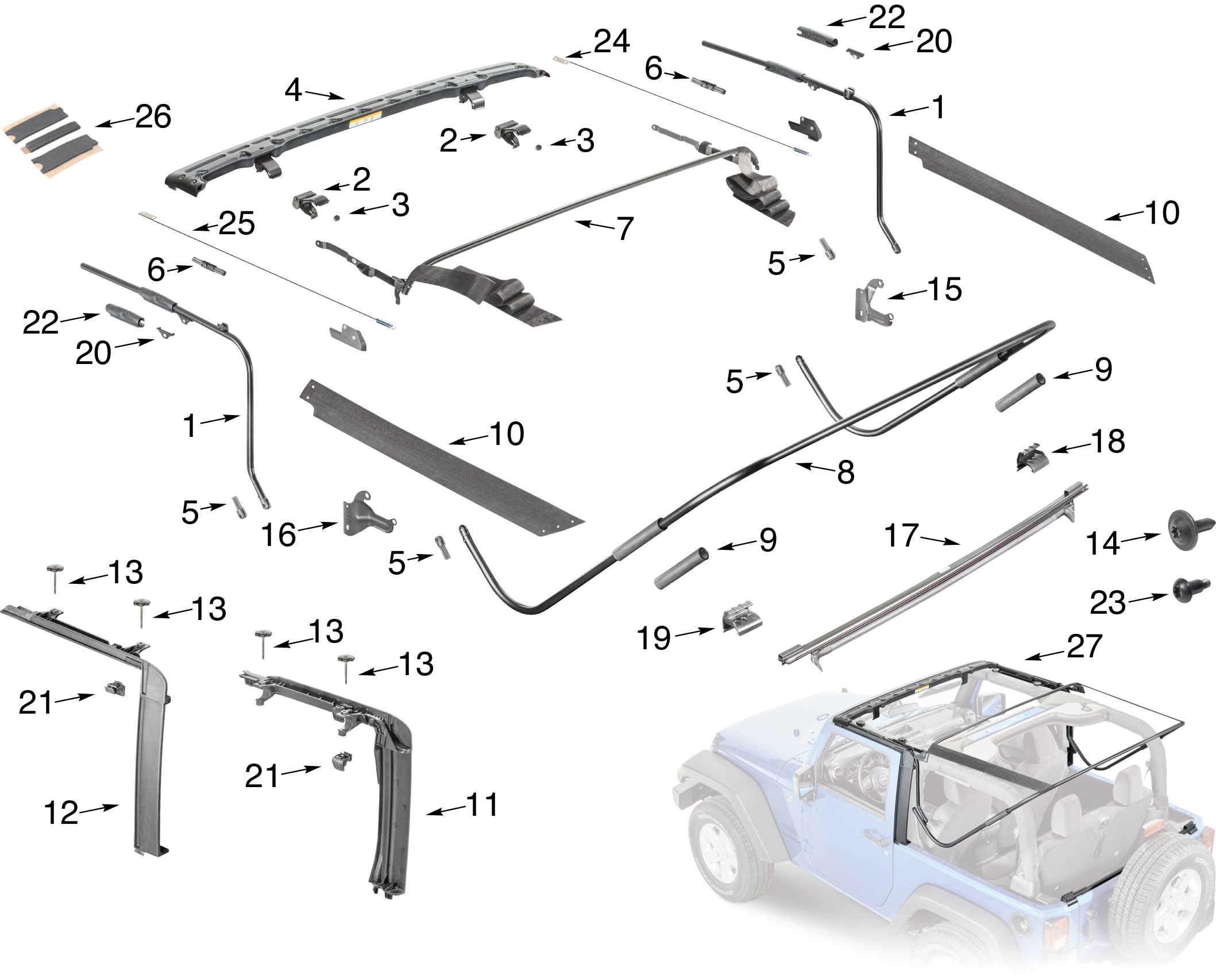 Soft Top Bars & Hardware  JKowners : Jeep Wrangler JK