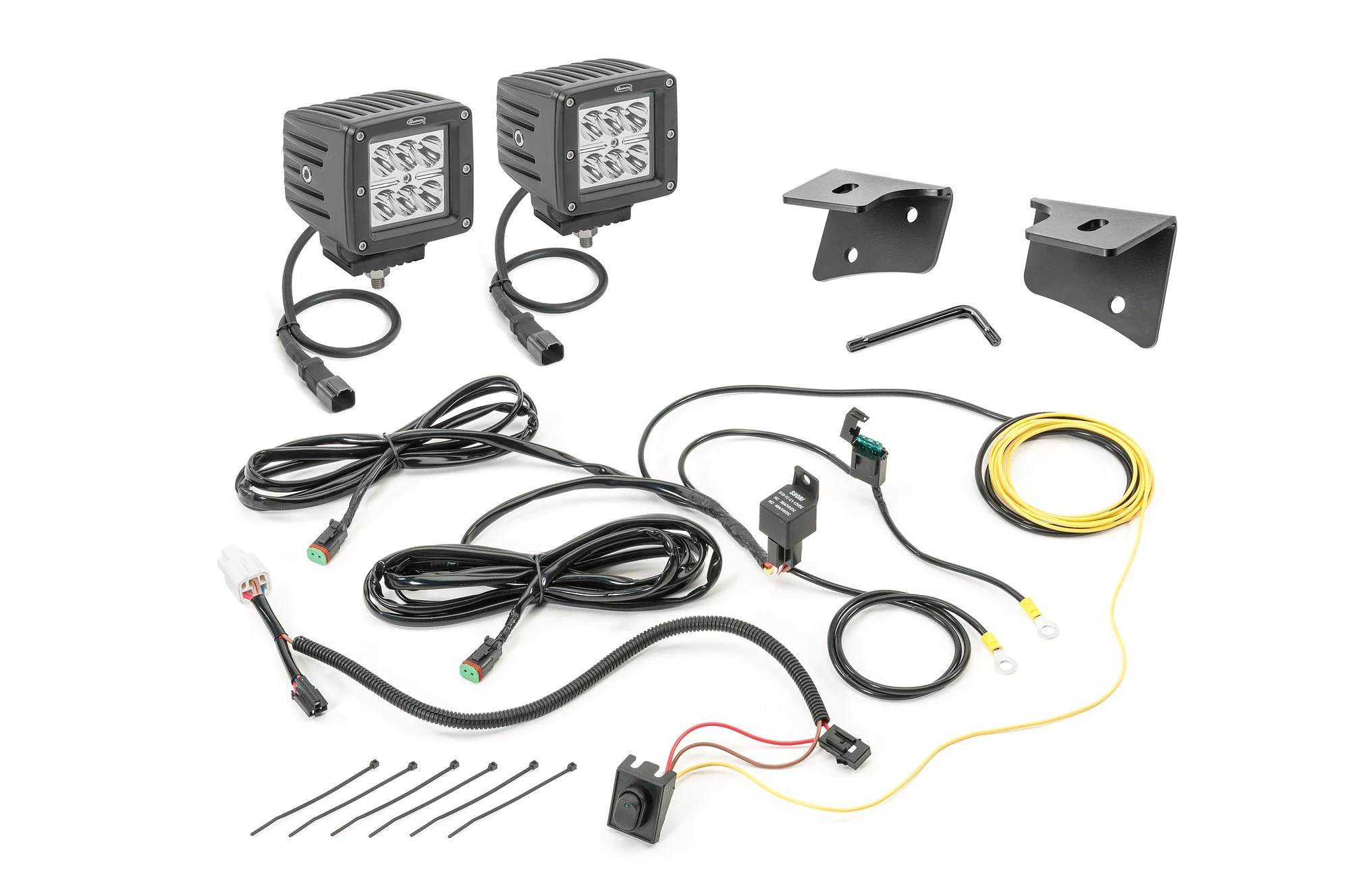 Quadratec 3 Cube Led With Wiring Harness Amp Windshield Mounting Brackets For 07 18 Jeep Wrangler
