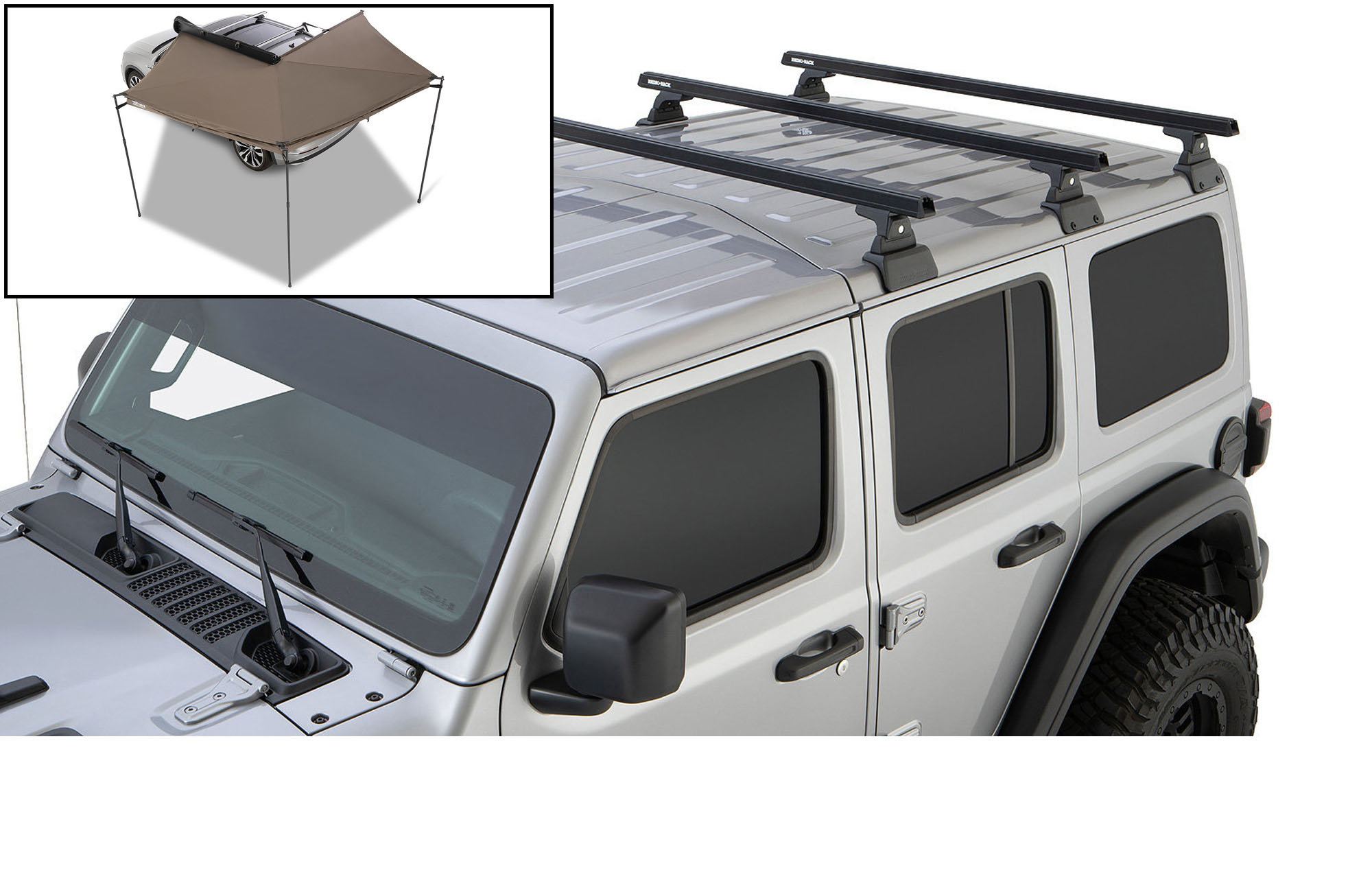 rhino rack 3 bar backbone roof rack with quick mount legs for 18 20 jeep wrangler jl unlimited with hardtop