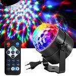 DAMIGRAM Lampe de Scène pour Disco, LED Commande Sonore Jeux de Lumière Disco Projecteur Effet Spot DJ Éclairage Ampoule Boule Cristal Eclairage à Télécommande pour Disco, Noël, Mariage, KTV etc.