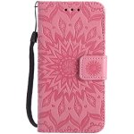 EINFFHO Coque Huawei Y3 II, Gaufrage Fleurs Coque en Cuir avec Souple Silicone Portefeuille Leather Folio Flip Housse Étui pour Huawei Y3 II Wallet Pouch Case Cover, Rose