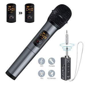 ELEGIANT Microphone Bluetooth, Micro Professionnel sans Fil Intégré FM Portables et Récepteur UHF Amplificateur pour Réunion, KTV, Karaoké, Mariage en Plein Air, Soirée, Bar, Eglise etc.