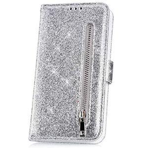 JAWSEU Coque LG K10 2018,Etui LG K10 2018 Portefeuille PU Étui Cuir à Rabat Magnétique Cordon Bling Glitter Brillant Diamant Strass Fermeture éclair Leather PU Flip Wallet Case,Argent