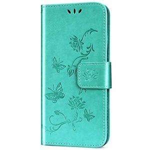JAWSEU Coque Sony Xperia XZ3,Etui Sony Xperia XZ3 Portefeuille PU Étui Cuir à Rabat Magnétique Luxe Élégant Papillon Fleur Ultra Mince Stand Leather PU Flip Wallet Case Cover,Vert