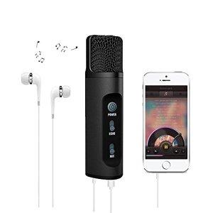 Karaoke Micro pour téléphone portable, Roop Modificateur de voix Fonction Micro à condensateur pour Chant et l'enregistrement, compatible avec Android/iOS/tablette (Noir)