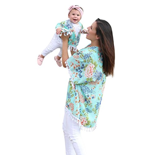 Mommy & Me Cardigan Surdimensionné pour Femme, Familizo Blouse de Plage de Gland de Famille (12-18Mois, (Bébé)Vert)