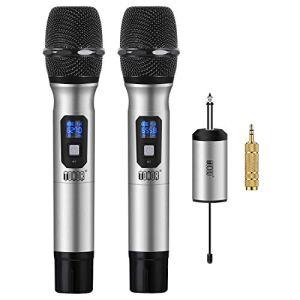 TONOR Microphone sans Fil 25 Canaux UHF, avec Mini Récepteur Portable Sortie 1/4″, pour Réunion d'Affaire/Maison/Karaoké/Église, Argent