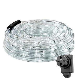 LE 10 m LED Guirlande lumineuse 240 LED IP65 étanche à l'eau, alimentée avec prise, éclairage de Noël idéal pour l'extérieur, la chambre, la fête, la décoration, etc. Blanc froid