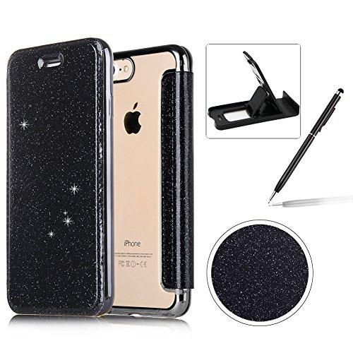 Coque iPhone 8 Plus Clapet,Herzzer Luxe Bling Glitter Paillettes PU Leather Housse Étui avec Transparente Clair TPU Silicone Placage Technologie Backcover pour iPhone 8 Plus/7 Plus (5,5 Pouces)- Noir