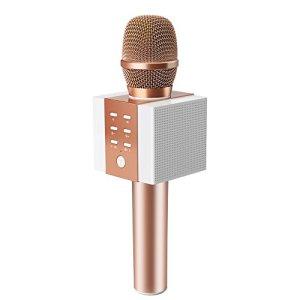 TOSING 008 microphone sans fil Bluetooth karaoké, plus fort volume 10W puissance, plus de basse, 3-en-1 portable poche double haut-parleur micro machine pour iPhone/Android/iPad/PC (rose)