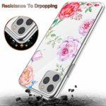 Suhctup Moda Coque Compatible pour iPhone 11 Pro,Transparent Silicone TPU Souple Étui avec [Motif Fleur] Crystal Ultra Fine Shock-Absorption Antichoc Protection Housse Cover Case(Fleur 9)