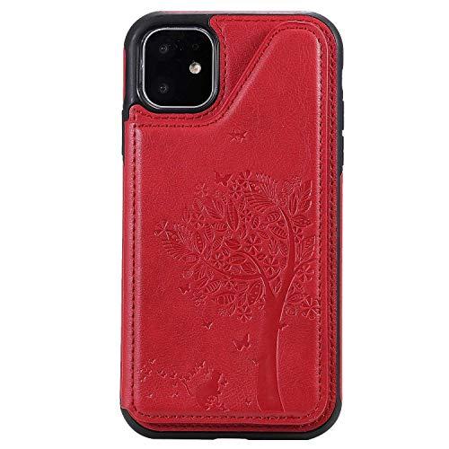 Coque iPhone 11, Bear Village Magnétique Portefeuille Housse en Cuir, Ultra Slim Antichoc Coque avec Slots de Carte pour iPhone 11, Rouge