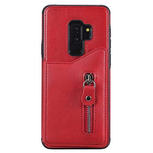 Bear Village® Magnétique Coque pour Samsung Galaxy S9 Plus, Anti Rayures Étui Portefeuille à Rabat, Housse en Cuir avec Fermeture Magnétique, Rouge