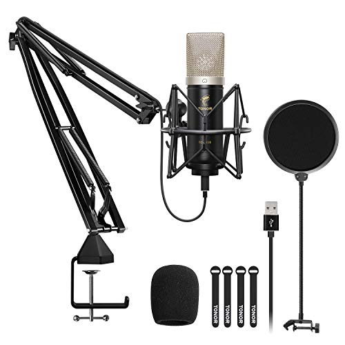 Microphone à Condensateur, TONOR Kit Micro Cardioïde USB avec Diaphragme 24mm/Bras de Suspension/Support Antichoc pour Diffusion, Enregistrement, Jeux, Baladodiffusion, Voix off, YouTube, TC-2030