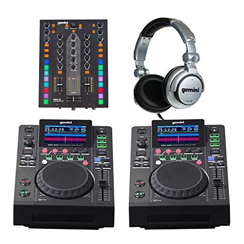 2 x Gemini MDJ-600 + PMX-10 Mixeur DJ Lecteur CD Kit de démarrage avec casque Disco