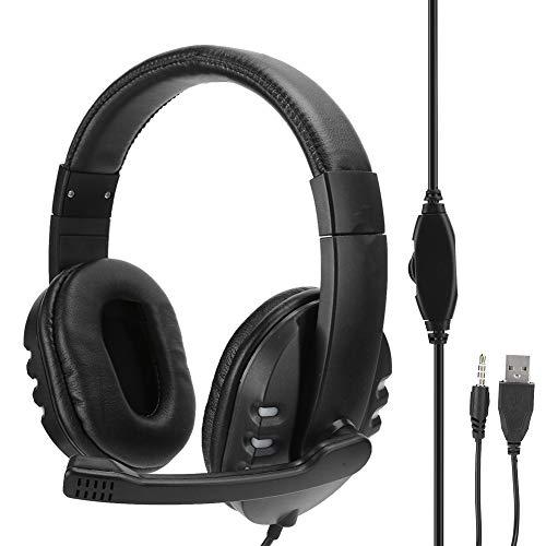 fasient1 Eadphone de Jeu avec Microphone, 3,5 mm + Casque d'écoute de Jeu monté sur la tête USB avec lumière LED Froide, Suppression du Bruit, pour Ordinateurs Portables – Noir