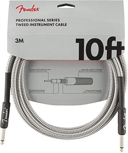 Fender 099-0820-063 Câble pour instrument de série professionnelle – 10 pi – STR/STR – Tweed blanc