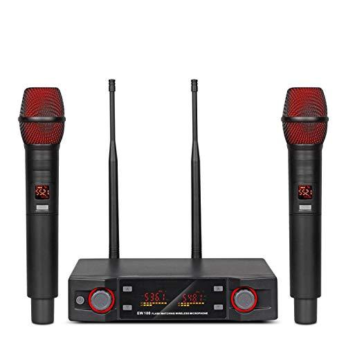 TIUENHAVU Karaoke Wireless Microphone Handheld Professional Cordless Karaoke Fréquence Réglable 80M recevoir des Performances scéniques