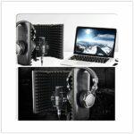 Isolation Microphone Bouclier Pliable Support réglable en Mousse Haute densité Panneau d'enregistrement avec Support for podcasts de radiodiffusion (Couleur : with Stand, Taille : 28x35x22cm)