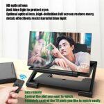 Amplificateur D'écran Téléphone Portable Pliant, Avec Télécommande Bluetooth Écran Projecteur 3D HD Films Extensions Jeu Vidéo Support Téléphone Prend En Charge Tous Les Smar(Color:blanc,Size:10 inch)