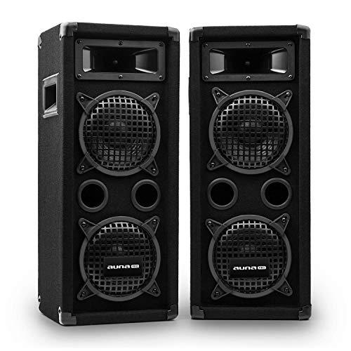 AUNA Pro PW – Enceintes de Sono Passive, 2 x subwoofer de 16,5 cm (6,5″), Médium à pavillon, 2 x tweeters piézo, Deux Enceintes 3 Voies, Noir, 300W RMS / 600 Wmax