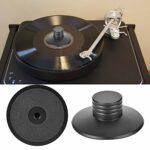 Guoshiy Stabilisateur de Plaque tournante LP, stabilisateur de Plaque tournante, Outil d'équilibrage du Poids de Vibration Noir pour Haut-parleurs de Lecteur CD de Lecteur de Disque de châssis
