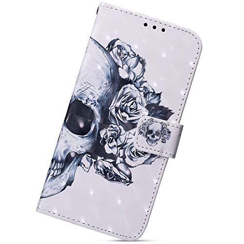 Herbests Compatible avec Samsung Galaxy A51 Tête de mort blanche