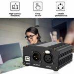 HETUI Alimentation fantôme 48V Câble USB2.0 Câble de Microphone à Double Prise pour condensateur (Noir)