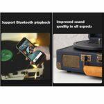 Tourne Disque Vintage Valise avec Bluetooth,Platine Vinyle De Phonographe, 3 Vitesses Lecteur De Courroie Vinyle Lecteur, Prenant en Charge La Prise Casque De 3,5 Mm Et Record De 7/10/12 Pouces