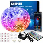 Ruban LED 12M, SHOPLED Synchronisation de Musique Bluetooth SMD 5050 RGB Bande LED avec Contrôle App, Télécommande à 44 Touches pour Chambre, Cuisine, TV, Fête, Luminaires Intã©rieur