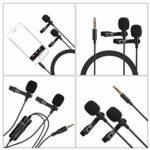 MILISTEN Double Tête Micro Col Clip Cravate Micro- Cravate Double Clip- Sur Revers Mic Portable Clip- Sur Microphone pour Entrevue Home Studio Stade (Noir)